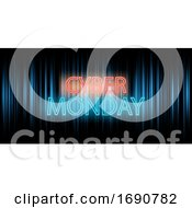 Poster, Art Print Of Cyber Monday Banner Design With Neon Lettering