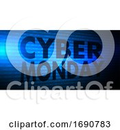 Poster, Art Print Of Cyber Monday Banner With Binary Code Design