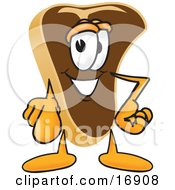Meat Beef Steak Mascot Cartoon Character Pointing Outwards At The Viewer
