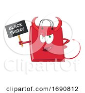 Cartoon Black Friday Sale Devil Shopping Bag Mascot