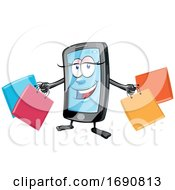 Female Mobile Phone Mascot Holding Shopping Bags