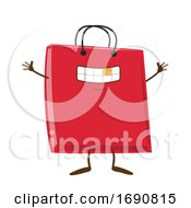 Cartoon Red Shopping Bag Mascot