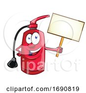 Fire Extinguisher Mascot Holding A Blank Sign