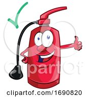 Fire Extinguisher Mascot Holding A Thumb Up