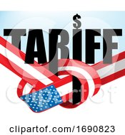Poster, Art Print Of United States Flag Ribbon And Tariff Text