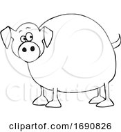 Poster, Art Print Of Cartoon Chubby Pig