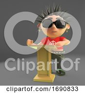 3d Punk Rocker Character Speaking At A Lectern Podium 3d Illustration