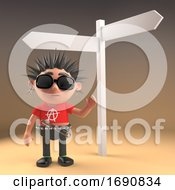 3d Punk Rock Character With Spiky Hair Standing At A Crossroads Road Sign 3d Illustration