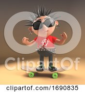 3d Punk Rocker With Spiky Hair On His Skateboard 3d Illustration