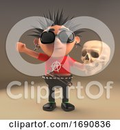 3d Punk Rocker Character With Spikey Hair Holding A Human Skull 3d Illustration