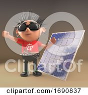 Poster, Art Print Of 3d Punk Rocker With Spiky Hair Next To Solar Panel Renewable Energy Device 3d Illustration