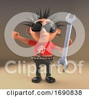 3d Punk Rocker Character Holding A Spanner Tool 3d Illustration