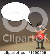 3d Punk Rocker Character With Blank Speech Bubble 3d Illustration