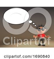 3d Punk Rocker Character With Empty Speech Bubble 3d Illustration