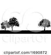 Field Of Grass Or Park And Trees In Silhouette