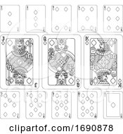 Poster, Art Print Of Playing Cards Diamonds Black And White