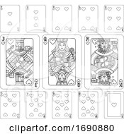 Poster, Art Print Of Playing Cards Hearts Black And White