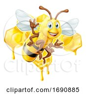 Cartoon Bee Character With Honeycomb