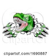 Poster, Art Print Of Dinosaur T Rex Or Raptor Cartoon Mascot