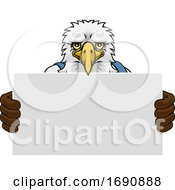 Eagle Cartoon Mascot Handyman Holding Sign