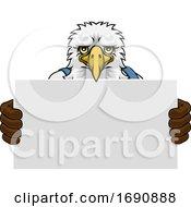 Eagle Cartoon Mascot Handyman Holding Sign