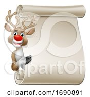 Christmas Reindeer Cartoon Character Scroll