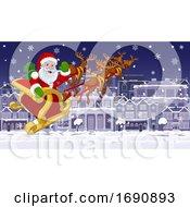 Santa Claus Sled Christmas Night Street Snow Scene