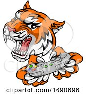 Tiger Gamer Video Game Controller Cartoon Mascot by AtStockIllustration