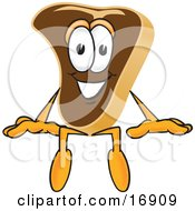Clipart Picture Of A Meat Beef Steak Mascot Cartoon Character Sitting