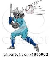 Poster, Art Print Of Rhino Baseball Player Mascot Swinging Bat At Ball