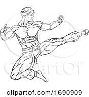 Kung Fu Karate Flying Kick Man Cartoon