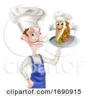 Kebab Mascot Cartoon Chef