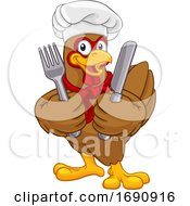 Chef Chicken Rooster Cockerel Knife Fork Cartoon