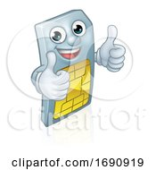 Sim Card Thumbs Up Mobile Phone Cartoon Mascot