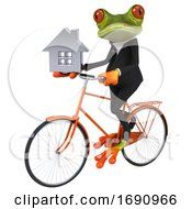 3d Green Business Frog On A White Background