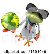 Poster, Art Print Of 3d Green Doctor Frog On A White Background
