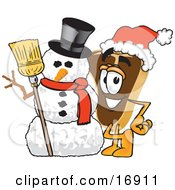 Meat Beef Steak Mascot Cartoon Character Wearing A Santa Hat And Standing With A Snowman