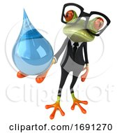 Poster, Art Print Of 3d Green Business Springer Frog Holding A Water Drop On A White Background