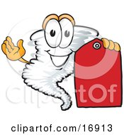 Tornado Mascot Cartoon Character Holding A Blank Red Sales Price Tag