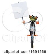 Poster, Art Print Of 3d Green Business Frog On A White Background