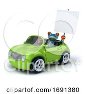 Poster, Art Print Of 3d Turquoise Frog On A White Background
