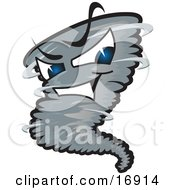 Clipart Picture Of An Evil Blue Eyed Dark Tornado Mascot Cartoon Character
