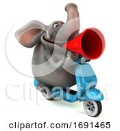 3d Elephant On A White Background