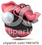 3d Pink Business Elephant On A White Background