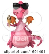 Poster, Art Print Of 3d Pink Dragon On A White Background