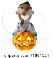 3d Short Black Male Doctor On A White Background