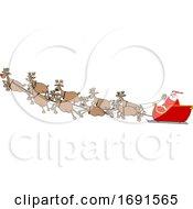 Cartoon Santa Claus And Magic Reindeer In Flight