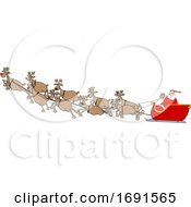 Cartoon Santa Claus And Magic Reindeer In Flight