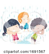 Kids Adjective Wet Illustration