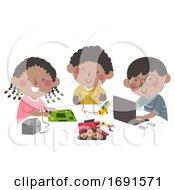 Kids Black Team Robot Illustration